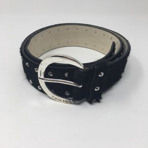 Calvin Klein Calf Hair Leather Studded Belt Medium